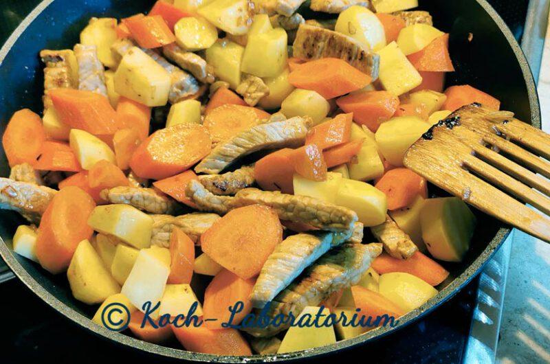 Gemüsepfanne mit Schnitzelstreifen