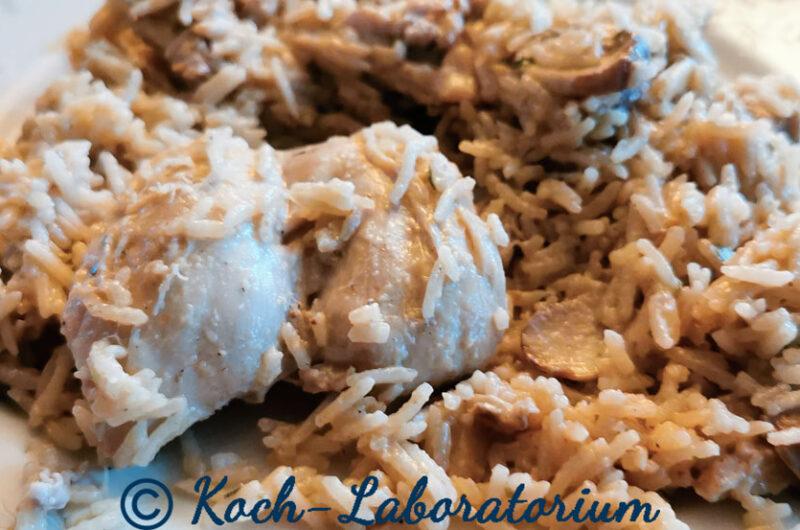 Hähnchenschenkel mit Champignons und Reis